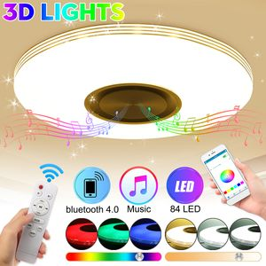 Dimmbar 220V 60W 84LED RGBW 3D Effekt Deckenleuchte bluetooth Lautsprecher APP Steuerung Deckenlampe mit Fernbedienung