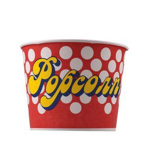 Popcorn Bodenbecher 10 Stück 85 oz 100 g 3 Liter Popcorn Kreise rot, weiß, gelb