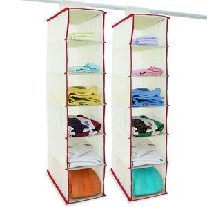 DEUBA® 2x Hängeaufbewahrung Hängeregal Hängeorganizer Aufbewahrung Stoff Schrank, Ausführung:6 Fächer weiß/rot
