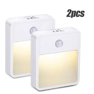 LED Nachtlicht, 2 Stück LED Nachtlicht Steckdose mit Bewegungsmelder, Steckdosenlicht