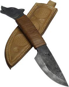 Toferner Original Geschenkmesser -  Wolf - Braun - Handgeschmiedetes Messer - Sport - Handpolierte und gehärtete Klinge Schönes Produkt. Gesamtlänge 23 cm.