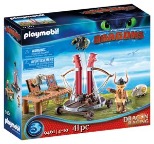 PLAYMOBIL Dragons 9461 Dragon Racing: Grobian mit Schafschleuder