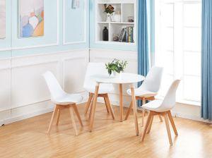 IPOTIUS Esstisch mit 4 Stühlen Weiß+Esstisch 80x80x70cm,für 2 4 Personen