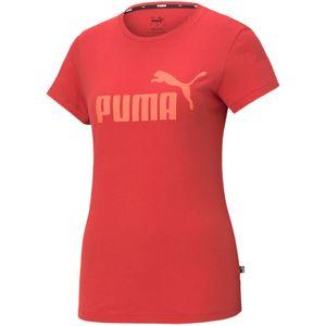 PUMA Damen T-Shirt - Essentials Logo Tee (S), Rundhals, Kurzarm, uni Rot XL