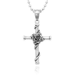 Edelstahl Rose Wrapped Kleine Kreuz Anhänger Kette Halskette