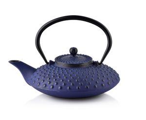 TEEKANNE aus Gusseisen mit Teesieb Teekessel Kanne Dunkelblau COOKINI 0,8 l
