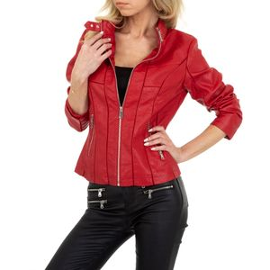 Ital-Design Damen Jacken Bikerjacken Rot Gr.xl
