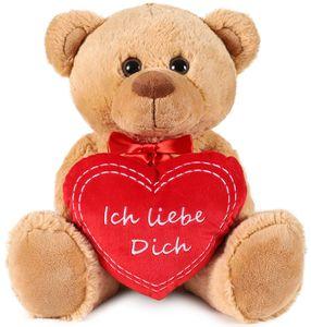 BRUBAKER Teddy Plüschbär mit Herz Rot - Ich Liebe Dich - 35 cm - Teddybär Plüschteddy Kuscheltier Schmusetier - Braun Hellbrau