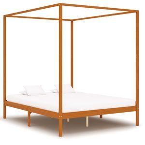 Hommie® Himmelbett-Gestell mit 4 Schubladen Bett Bettrahmen Modern Design - Doppelbett Bett für Schlafzimmer Massivholz Kiefer 160x200cm ❤5695