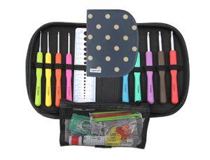 """Häkelnadel Set """"Resi"""" mit vielen Zubehörteilen, Bunte Häkelnadeln, ergonomische Softgriffe und Aluminium, 9 Nadeln zum Häkeln, 2 mm - 6 mm, Häkelnadel Etui Tasche ideal für Anfänger, Fortgeschrittene"""