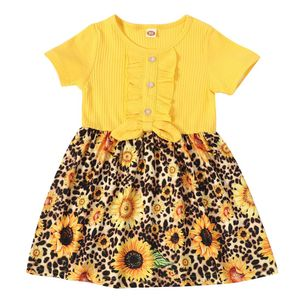 Mädchen Leopardenmuster Sonnenblume Kurzarm Kleid, Gelb, 12-18 Monate(80–86)
