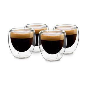 Klarstein Glaswerk Vienna doppelwandige Gläser , Thermoglas , Trinkglas , Espresso-, Kaffee- und Shotglas , 4 Stück , für heiße und kalte Getränke , 80 ml , Borosilikatglas , hitze- und kältebeständig , handgemacht , spülmaschinenfest , Thermoeffekt