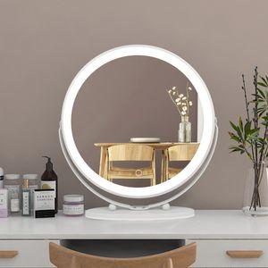 WYCTIN Kosmetikspiegel Schminkspiegel Mit LED Beleuchtung Make Up 50*50cm Drehbar Kaltes Weiß