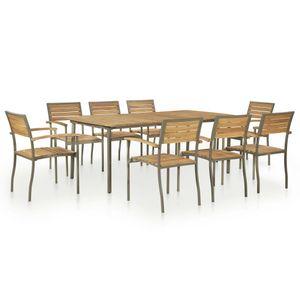 Hochwertigen Garten Sitzgruppe Gartengarnitur - 9-teiliges Outdoor-Essgarnitur Garten-Essgruppe Sitzgruppe Tisch + stuhl Akazie Massivholz und Stahl☆2987