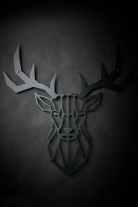 Hansmeier | Hirsch-Wanddeko aus Metall | 100 x 100 cm | Hirschkopf Geweih Deko