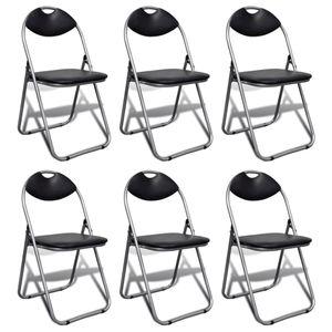 vidaXL Klappbare Esszimmerstühle 6 Stk. Schwarz Kunstleder und Stahl