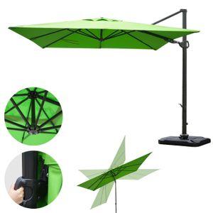 Gastronomie-Ampelschirm MCW-A39, 3x3m (Ø4,24m) schwenkbar drehbar, Polyester/Alu 31kg  grün mit Ständer