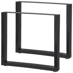2 x Tischbeine Metall Schwarz Stahl Tischkufen Tisch Beine Fuesse Tischbein Kufen Möbel Stahl Möbelfüße Füße Eckig Industrial verschiedene Größen V2Aox, Maße :80 x 72 cm