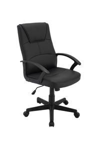 HOMEXPERTS Chefsessel IRIS, Drehstuhl mit Wippmechanik und gebremsten Sicherheitsdoppelrollen, Schreibtischstuhl Kunstleder schwarz