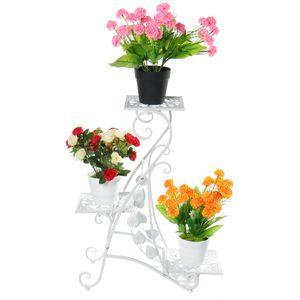 Weiß Blumenständer Blumenablage Metall Balkon Blumenbank für Innen Pflanzentreppe Draussen Plant Stand Indoor Outdoor Dekoständer Pflanzenständer