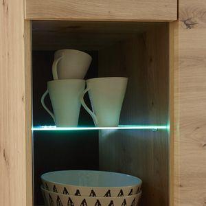 Wohnwand Komplett Set mit Couchtisch und Sideboard TIROL-61 skandinavisches Design in Eiche Artisan mit Schwarz