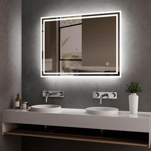 Meykoers LED Badspiegel 80x60cm Badspiegel mit Beleuchtung kaltweiß Lichtspiegel Badezimmerspiegel Wandspiegel mit Touchschalter IP44 energiesparend