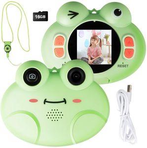 COSTWAY 8MP/1080P HD Kinderkamera, Kinder-Videokamera mit Cartoon-Schutzhuelle, Digitalkamera mit 1,54 Zoll Bildschirm, inkl. Trageband, 16GB-Speicherkarte fuer Kinder von 3-10 Jahren 1,54 Zoll / gruen