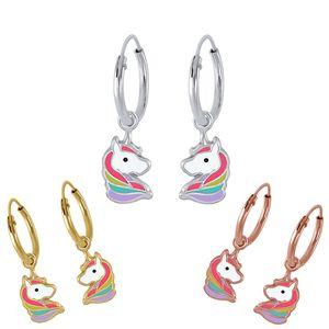 Einhorn Creolen: Kinder Ohrringe 925 Silber, Farbe:Silber