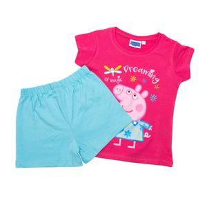 Peppa Pig - Mädchen Shorty Set - T-Shirt und Hose - Schlafanzug - Motiv 2020 Peppa Wutz - Rosa Türkis, Größe:98/104