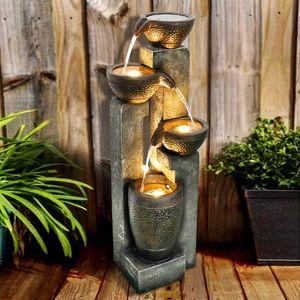 Gartenbrunnen Brunnen Zierbrunnen Außen brunnen Springbrunnen Brunnen Wasserfall Wasserspiel für Garten, Gartenteich, Terrasse, Balkon Sehr Dekorativ