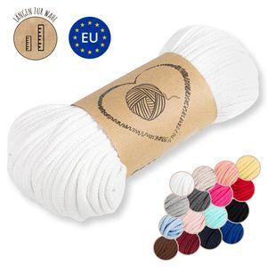 Kordel baumwolle Baumwollkordel 5 mm - Baumwollgarn Baumwollschnur Schnur NATUR GARN deko für makramee 100 Meter WEIß
