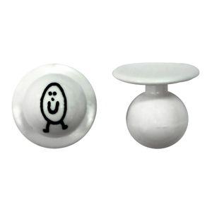 Kugelknöpfe weiß Ei mit Gesicht (12 Stück)