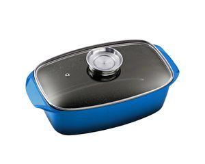 33x21cm KING® Bräter Aluguss mit Glasdeckel und Aromaknopf / Farbe: Blauer Verlauf / Keramikbeschichtung Innen: FUSION®