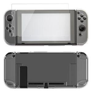 ECENCE Schutzhülle Tasche Hardcase für Nintendo Switch Controller + Displayschutz Zubehör transparen