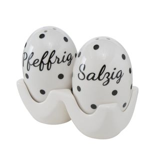 Salz-/Pfeffer-Streuer Dottia 3-tlg. H9cm Porzellan Gepunktet Schwarz Weiß