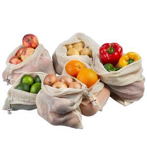 ECENCE Obst- und Gemüsebeutel, 6 Stck. in 3 Größen, wiederverwendbares Einkaufsnetz, Baumwollnetz