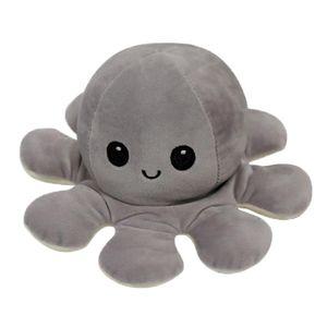 Double-Sided Flip Reversible Octopus Plüschtier Marine Life Grau Bis Beige 10cm