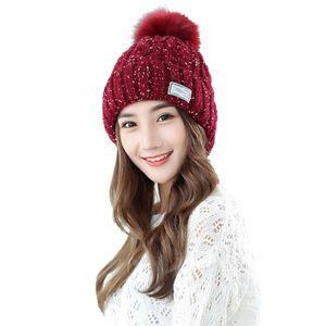 Frauen Winter Dick warm Strickmützen Pompon Hüte Outdoor Reiten Ski Cap