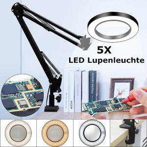 Darmowade Schreibtischlupe 5X USB LED Lupenleuchte 3 Farben Beleuchtete Lupenlampe Arbeitsleuchte Lesung Nacharbeit Lötlupe - Schwarz