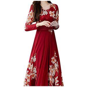 Mode Frauen O-Ausschnitt Langarm Langes Kleid Damen Blumendruck A-Linie Kleid Größe:L,Farbe:Rot