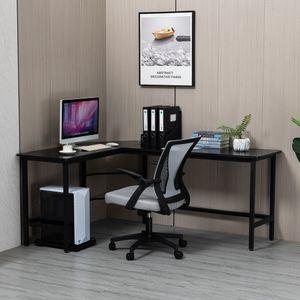 Computertisch L-förmiger Eckschreibtisch 168x120x73cm Metallgestell Holzoptik L-Form MDF Schreibtisch Bürotisch PC Schreibtisch Winkelschreibtisch Arbeitstisch Schwarz