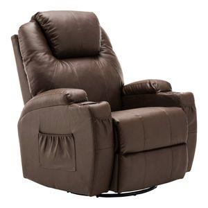 MCombo Massagesessel Fernsehsessel Relaxsessel + Heizung mit Dreh+Schaukel manuell verstellbar 7020BR