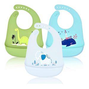 3er Pack Baby Lätzchen Silikon Wasserdichte, Silikon-lätzchen Babylätzchen mit Auffangschale Unisex für Entwöhnen BPA Frei,Abwaschbar Verstellbare Einfache Reinigung Weihnachten Babyparty Geschenk,  Grau