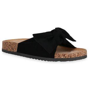 Mytrendshoe Damen Sandalen Pantoletten Schleifen Flache Schuhe 834899, Farbe: Schwarz, Größe: 39