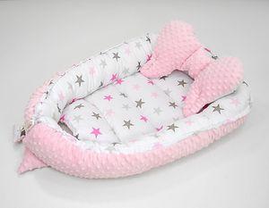 2 tlg. Set Baby Kuschelnest mit Kissen (Schmetterlingform), 64x90 cm / 45x25 cm,Babynest, Babynestchen, Liegekissen, Reisebett Nest Nestchen aus 100% Baumwolle