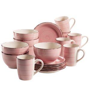Mäser 931494 Lumaca Frühstück-Service für 6 Personen im Vintage Look, handbemalte Keramik, Geschirr-Set, Steingut, rosa, 18-teilig (1 Set)
