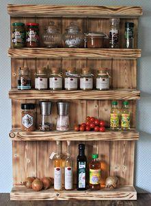 Gewürzregal aus Holz - für die Wand oder stehend - Braun (geflammt) - 5 Stellflächen - 90 x 60 x 12 cm - Massivholz