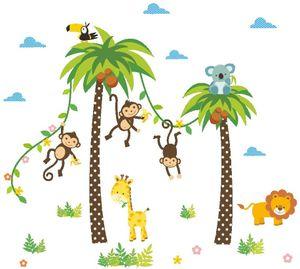 Dschungel Abnehmbare Wandsticker Kinderzimmer Babyzimmer Deco für Geburtstag Party(60*90cm)