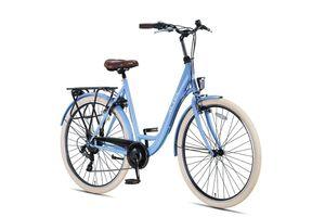 28 ZOLL Damen Mädchen City Trekking Fahrrad Rad Bike Cityfahrrad Damenfahrrad Cityrad 7 Shimano Gang Beleuchtung STVO ALTEC METRO 55 cm Frozen BLUE BLAU