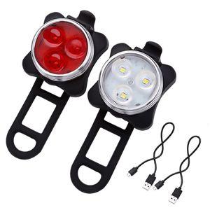 LED Fahrradlampe Set USB Akku Radlicht Fahrradlicht Vorne & Hinten Lampe Fahrrad Licht Wiederaufladbare  Frontlicht Rücklicht